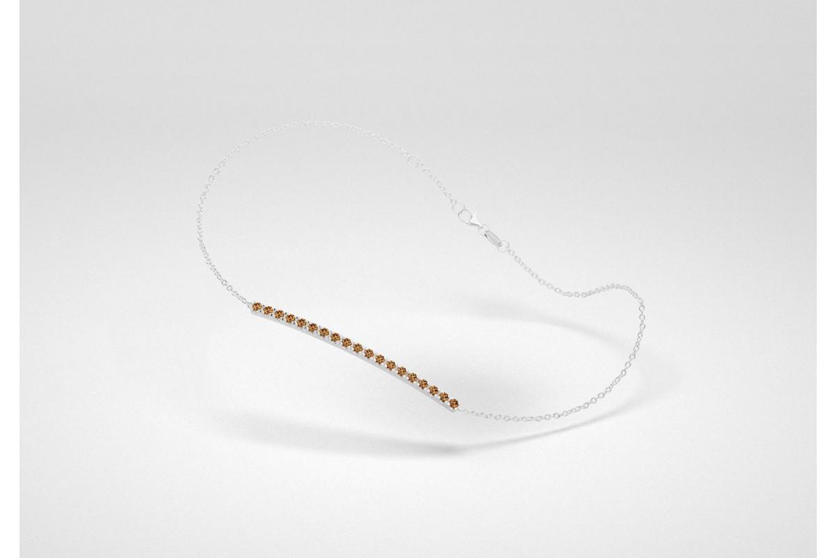 The Line Bracelet - Chocolate - White Gold 18 Kt