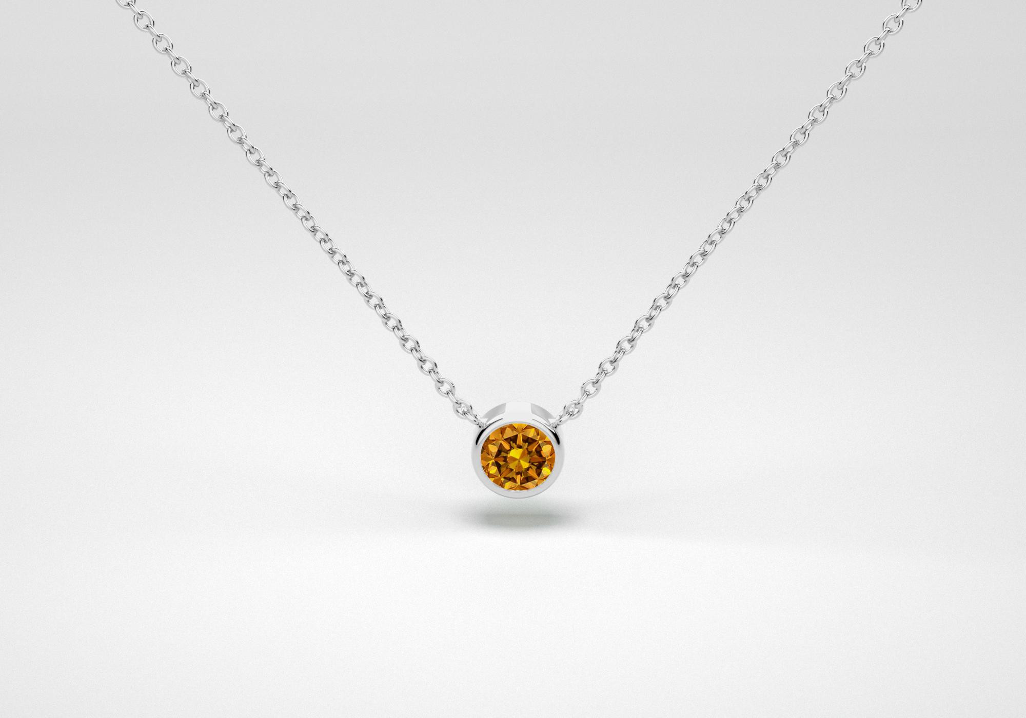 The One Necklace - Cognac - White Gold 18 Kt