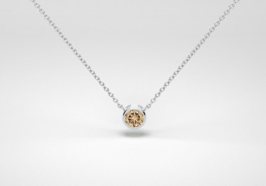 The One Necklace - Champagne - White Gold 18 Kt