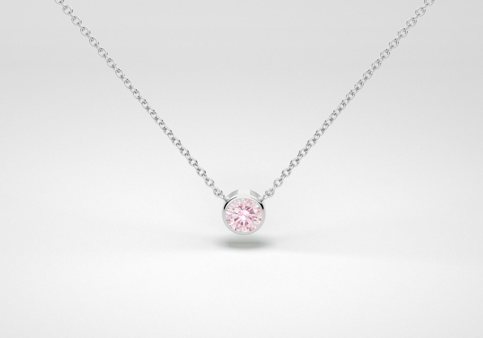 The One Necklace - Pink - White Gold 18 Kt