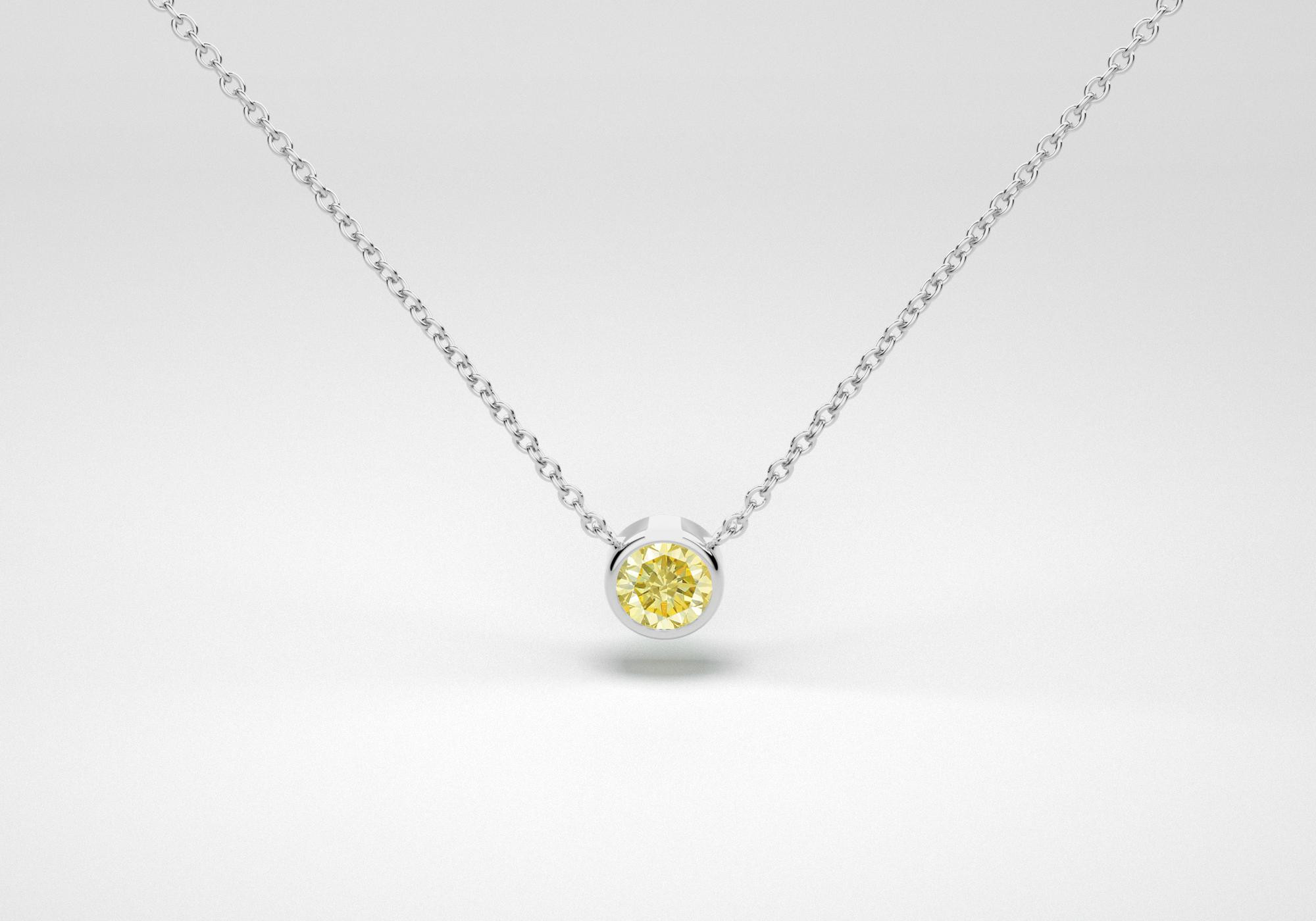 The One Necklace - Canary - White Gold 18 Kt