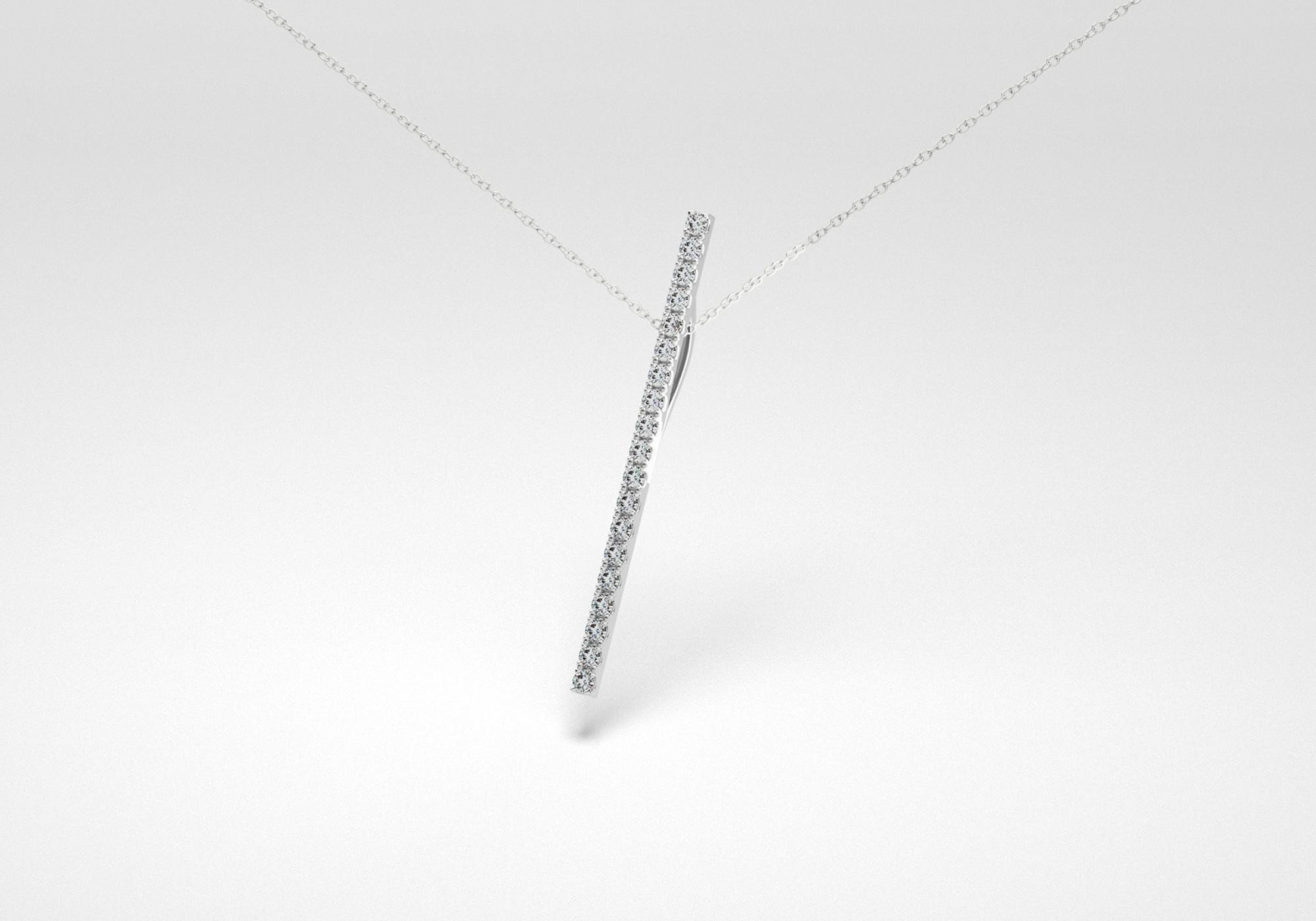 The Line Necklace - Gray - White Gold 18 Kt
