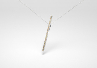 The Line Necklace - Champagne - White Gold 18 Kt