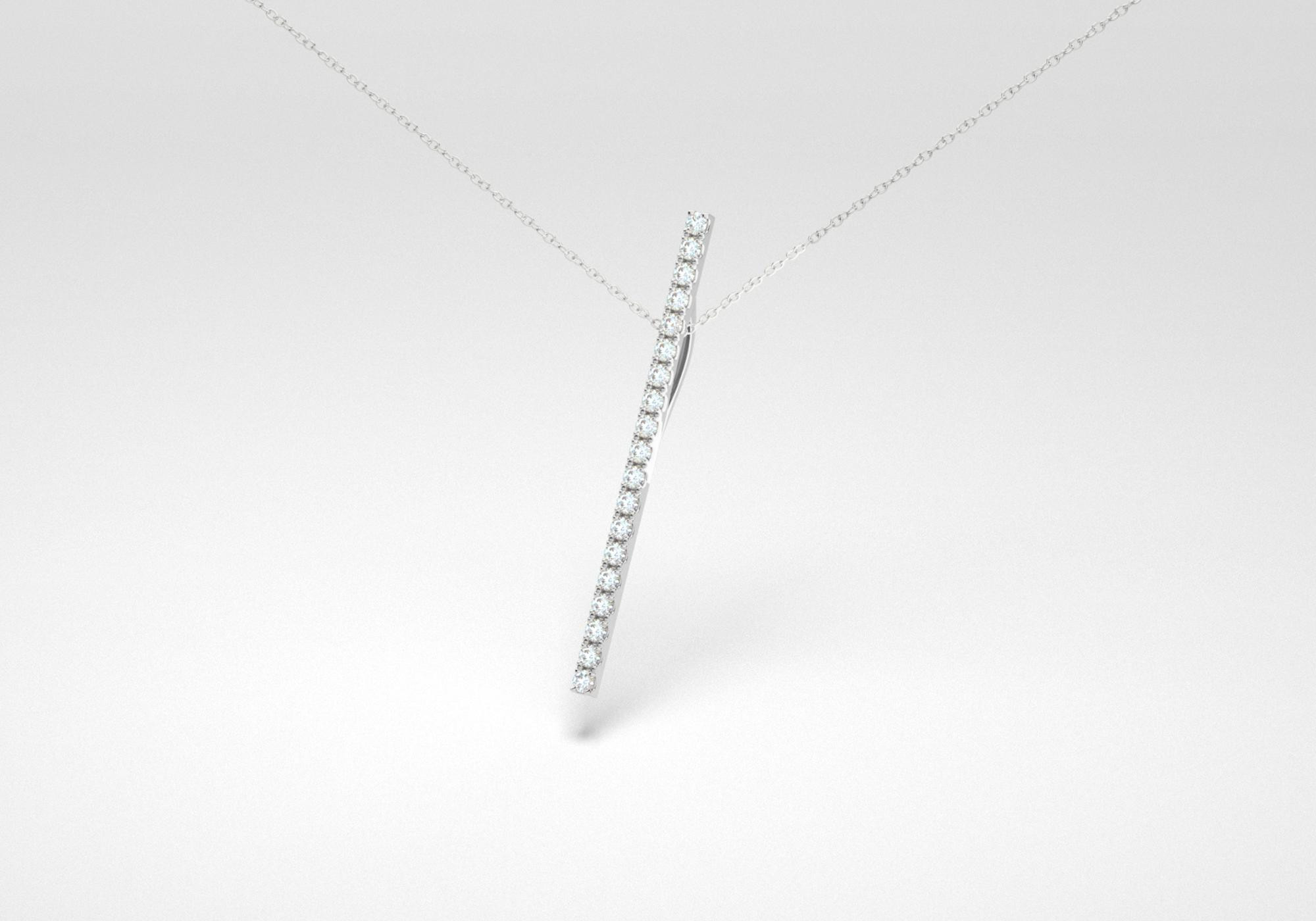 The Line Necklace - White - White Gold 18 Kt