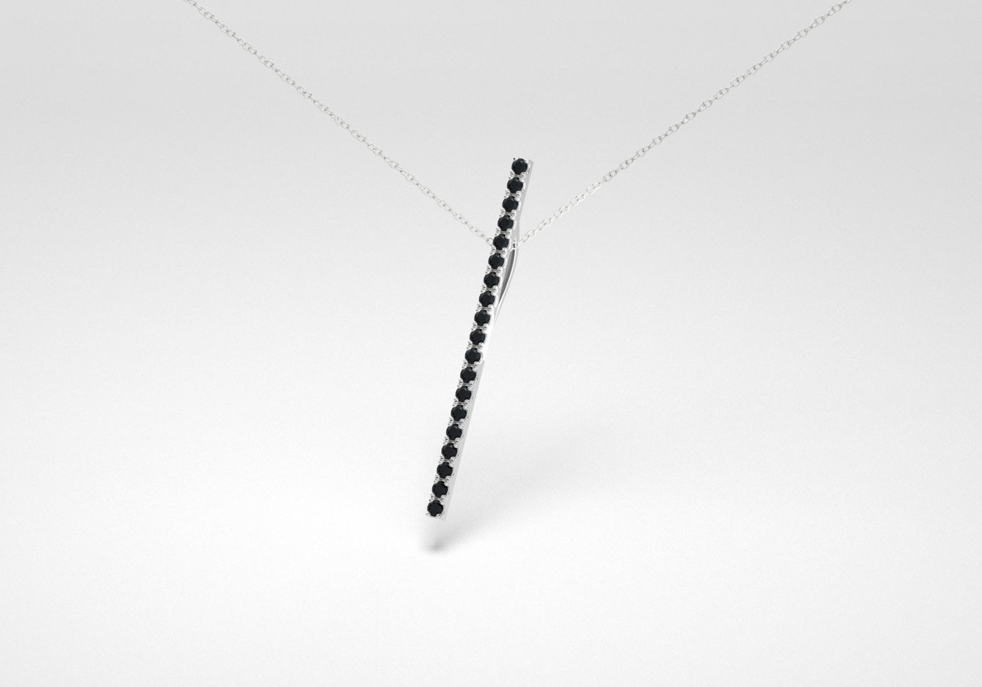 The Line Necklace - Black - White Gold 18 Kt