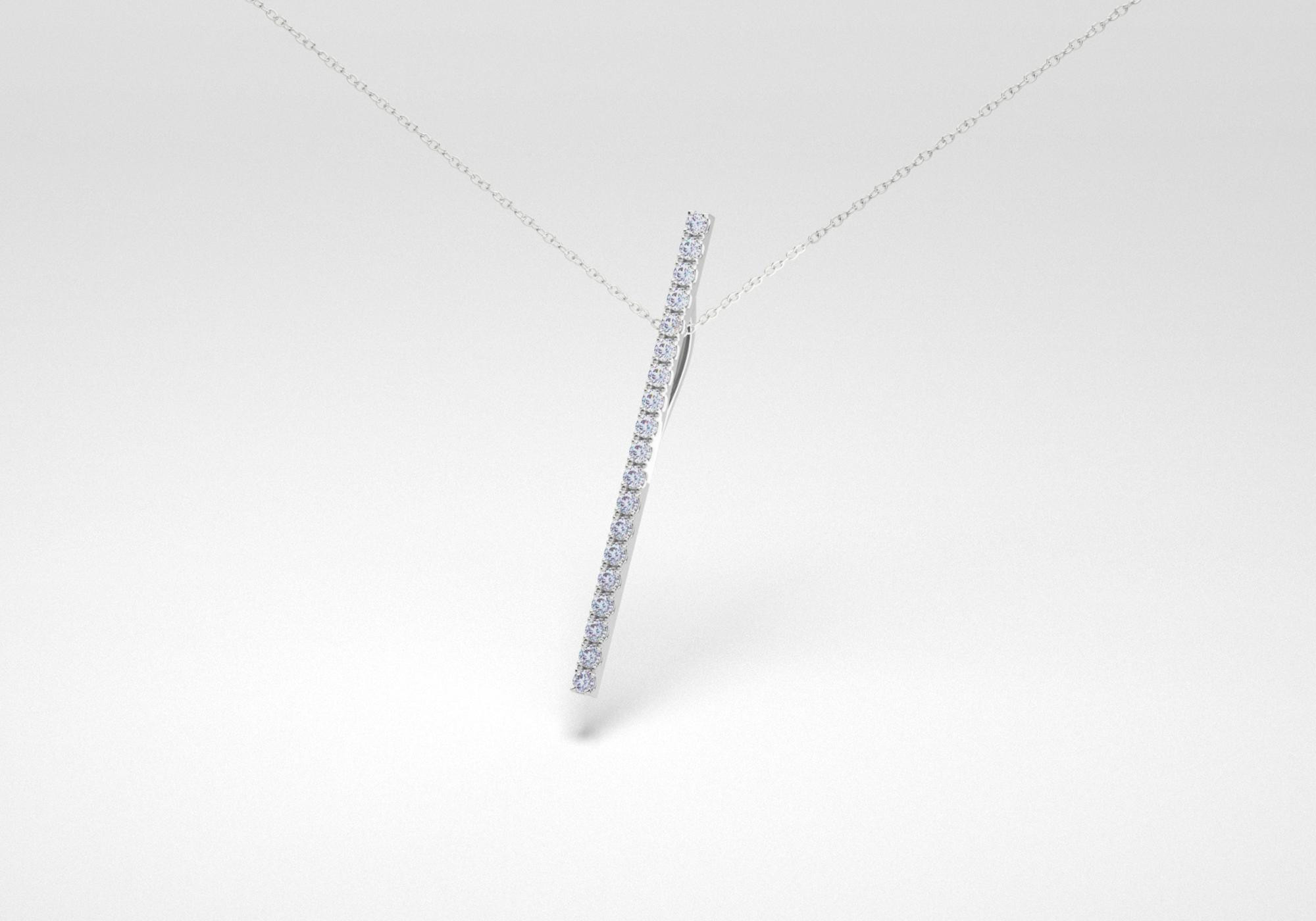 The Line Necklace - Steel - White Gold 18 Kt