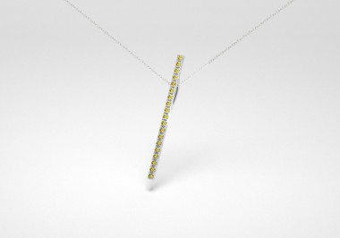 The Line Necklace - Olive - White Gold 18 Kt
