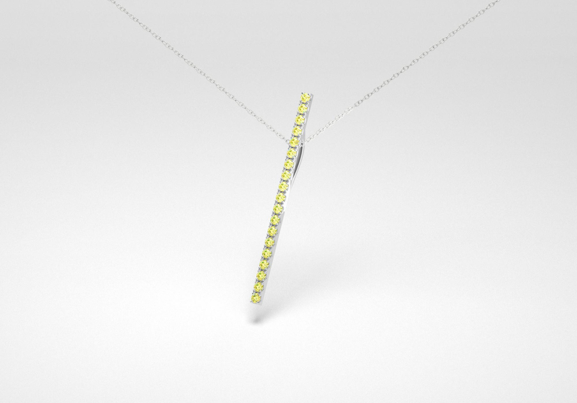The Line Necklace - Canary - White Gold 18 Kt