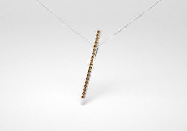 The Line Necklace - Chocolate - White Gold 18 Kt