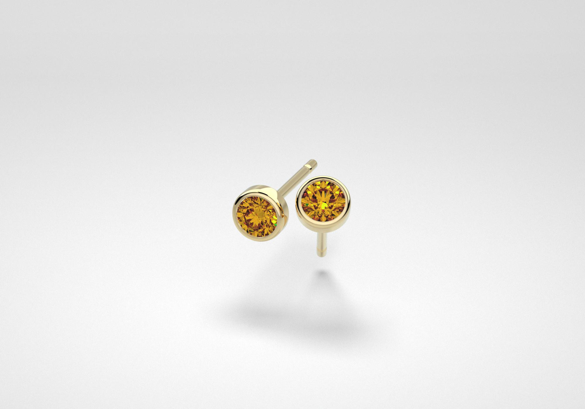 The One Earrings - Cognac - Yellow Gold 18 Kt