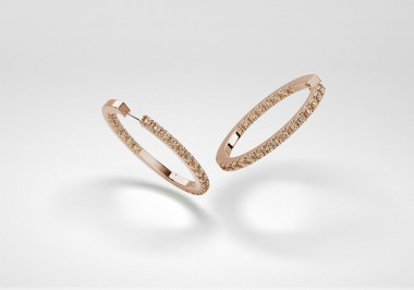 The Line Hoop Earrings - Champagne - Rose Gold 18 Kt