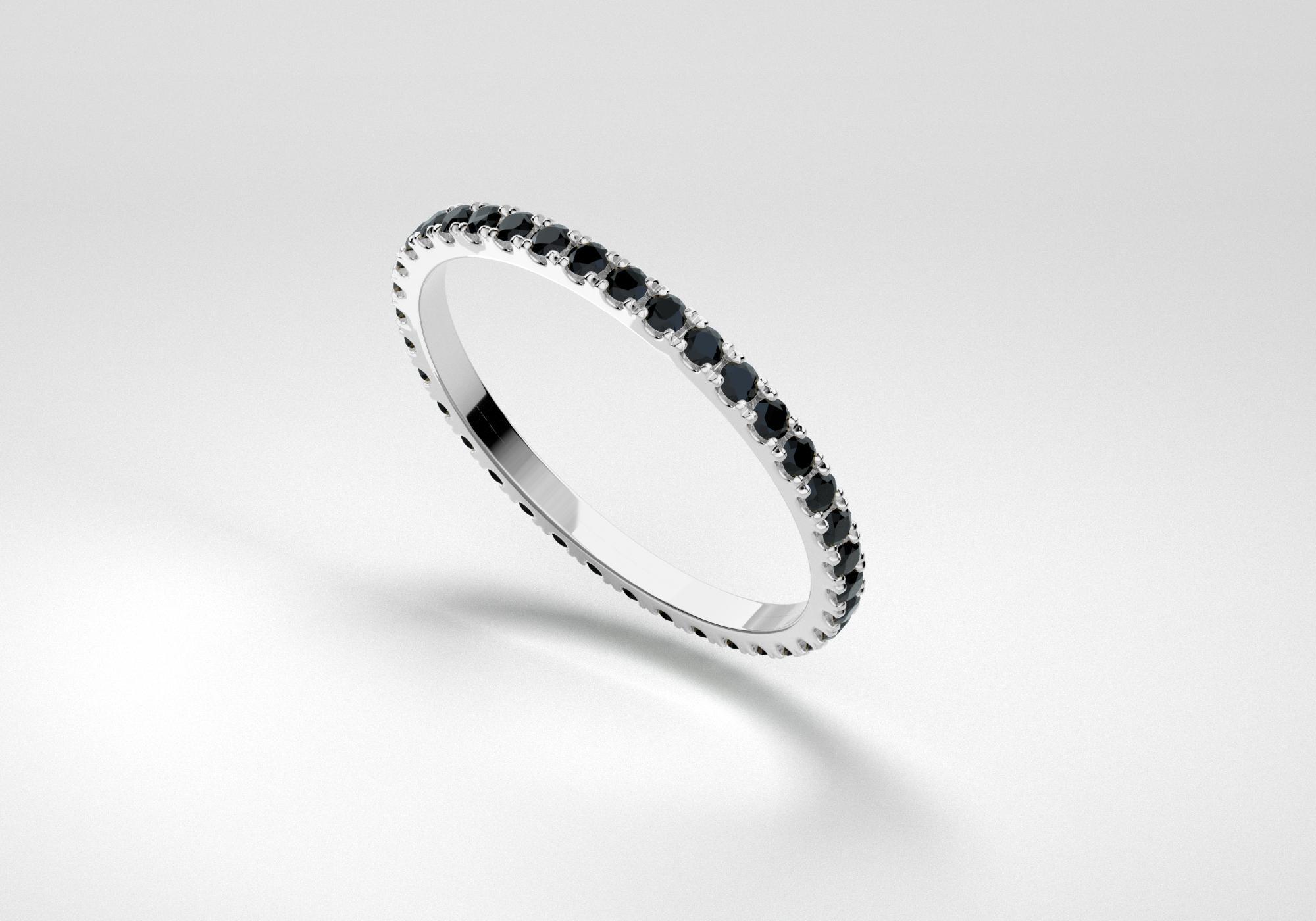 The Line Eternity Ring - Black - White Gold 18 Kt
